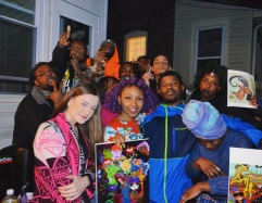 Jasmyn (in middle with purple hair) & supporters